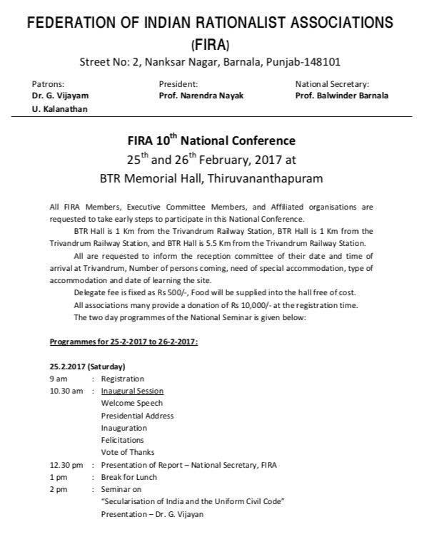 10th FIRA National Conference