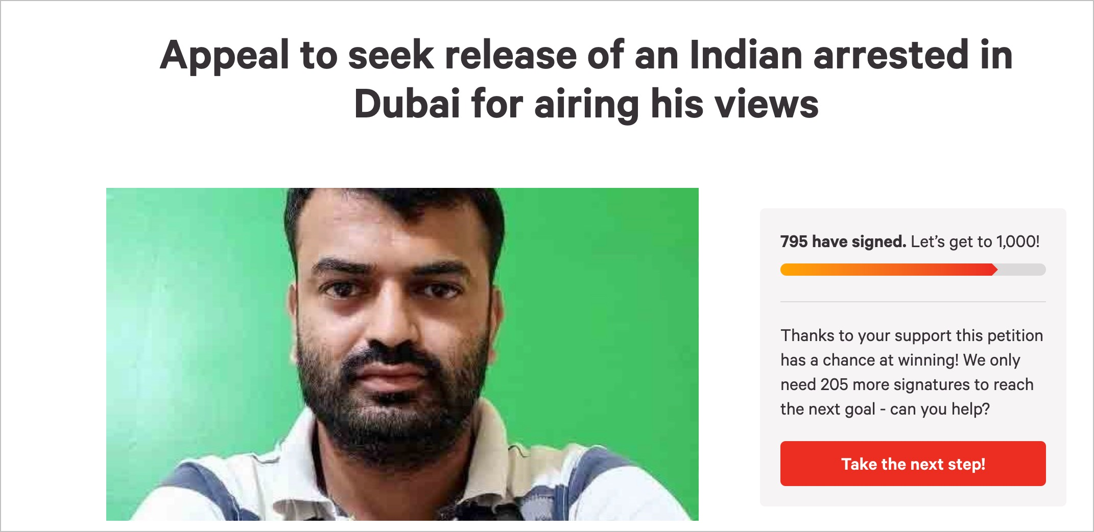 Appeal to seek release of an Indian arrested in Dubai for airing his views